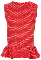 See-Saw - Sleeveless Peplum Top Red