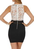 AX Paris - Lace Top Bodycon Dress Black and White