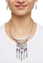 Joy Collectables - Statement Necklace with Beads and Charms Silver