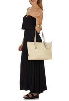 Marie Claire - Quilted Tote Bag with Buckle Details Neutral