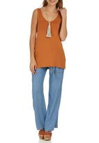 STYLE REPUBLIC - Lace-up V-neck Tunic Mid Brown