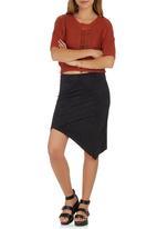 c(inch) - Cross-over Suedette Midi Skirt Black