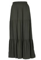 edit - Tiered Maxi Skirt Khaki Green
