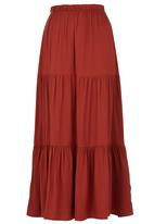 edit - Tiered Maxi Skirt Mid Brown