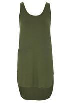 c(inch) - High Low Tank Top Dark Green