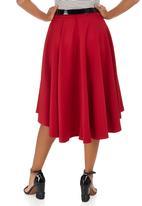 STYLE REPUBLIC - High Low Midi Skirt Dark Red
