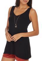 STYLE REPUBLIC - Lace-up V-neck Tunic Black