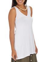 STYLE REPUBLIC - Lace-up V-neck Tunic White