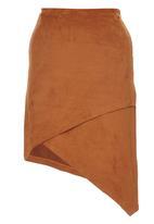 c(inch) - Cross-over Suedette Midi Skirt Camel/Tan