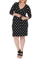 edit Plus - Wrap Dress Black and White