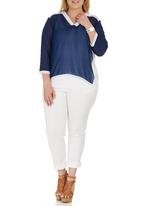 STYLE REPUBLIC PLUS - Inset Blouse Blue and White