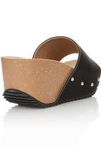 Bata - Cork Slip On Wedges Black