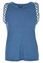 c(inch) - Tank Top With Trim Mid Blue