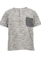 See-Saw - Henley T-shirt with Pocket Detail Grey