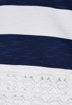 Rebel Republic - Lace Trim Crop Top Blue and White