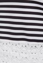 Rebel Republic - Lace Trim Crop Top Black and White