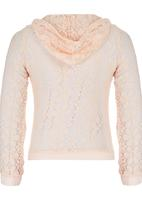 Rebel Republic - Lace Bomber With Hood Pale Pink