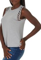 c(inch) - Tank Top With Trim Pale Grey