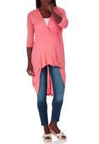 edit Maternity - 3/4 Sleeve Drape Top Coral