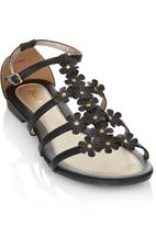 Bata - Ankle Strap Flower Detail Sandals Black