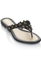 Bata - Slip On Flower Detail Sandals Black