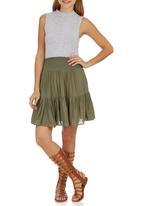 c(inch) - Tiered Midi Skirt Dark Green