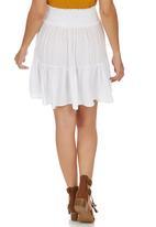 c(inch) - Tiered Midi Skirt White