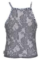 Precioux - Fitted Lace Back Top Mid Blue