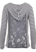Precioux - Stripe Hooded Cardigan Grey