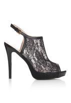 Footwork - Lace Sling Back Open Toe Heels Black
