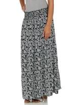 edit - Printed Smocked Maxi Skirt Black and White