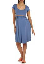 Cherry Melon - Belted Scoopneck Cap Sleeve Dress Dark Blue