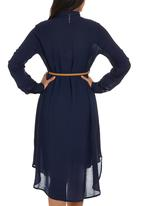 Cherry Melon - Shirt Dress with Long Sleeve Navy