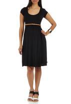 Cherry Melon - Belted Scoop-neck Cap Sleeve Dress Black