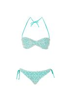 KANGOL - Crochet Bandeau Bikini Set Blue and White