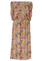 Bukamina - Boho Paisley Maxi Dress Mid Pink