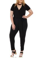 edit Plus - Short Sleeve Jumpsuit Black