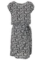 Bukamina - Paisley Print Knot Dress Black and White