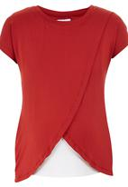 edit Maternity - Nursing T-shirt with Wrap Overlay Orange