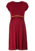 Cherry Melon - Belted Scoop-neck Cap Sleeve Dress Dark Red