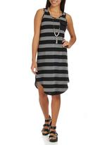 STYLE REPUBLIC - Stripe Tunic Dress Multi-colour