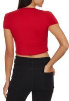 c(inch) - Crop T-shirt Red