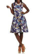 STYLE REPUBLIC - African Printed Midi Dress Multi-colour