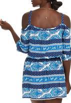 c(inch) - Peasant Mini Dress Mid Blue