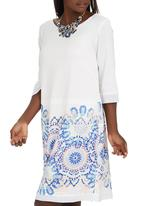 Ilan - Tribal Print Tunic Dress White