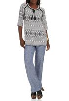 G Couture - Printed Top with Tassel Detail Black and White