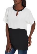 G Couture - Top with Gold Clasp Black and White