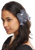 chic - Bow and Feather Hair Clip Pale Grey