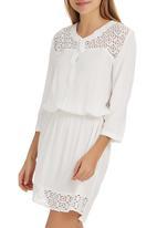 Sitting Pretty - Nyala Lace Shirt Dress White