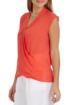 edit - Cross-over Blouse Orange